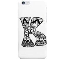"Hipster Letter ""K"" Zentangle iPhone Case/Skin"
