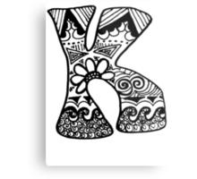 "Hipster Letter ""K"" Zentangle Metal Print"