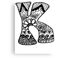 "Hipster Letter ""K"" Zentangle Canvas Print"