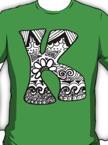 """Hipster Letter """"K"""" Zentangle T-Shirt"""