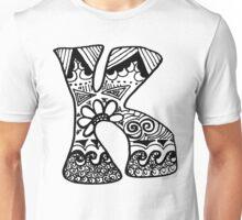 """Hipster Letter """"K"""" Zentangle Unisex T-Shirt"""