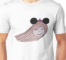 Windy Hair Girl with Mouse Ears and Crown Unisex T-Shirt