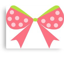 Polka Dot Bow Canvas Print
