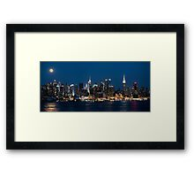 Super Moon Over New York Panorama Framed Print