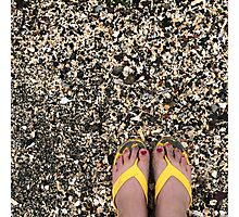 Painted Toes in Yellow FlipFlops  Photographic Print