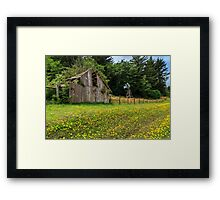 Windmill Flowers And A Barn Framed Print