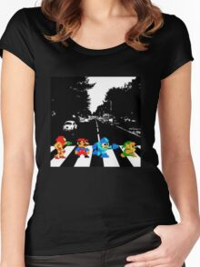 Nintendo Sprites on Abbey Road Women's Fitted Scoop T-Shirt