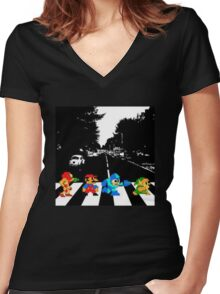 Nintendo Sprites on Abbey Road Women's Fitted V-Neck T-Shirt