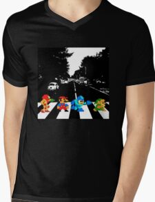 Nintendo Sprites on Abbey Road Mens V-Neck T-Shirt