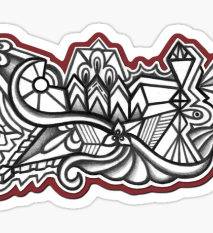 Abstract Dimensions (Black and White) Design 023 Sticker