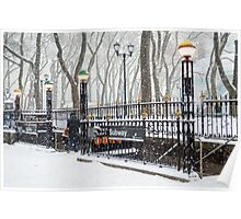 Bryant Park Subway and Snow Poster