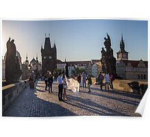 Czech Republic. Prague. Charles Bridge. Photo Session. Bride and Groom. Poster