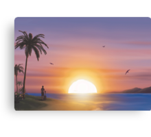 Guitarist on tropical beach at sunset Canvas Print
