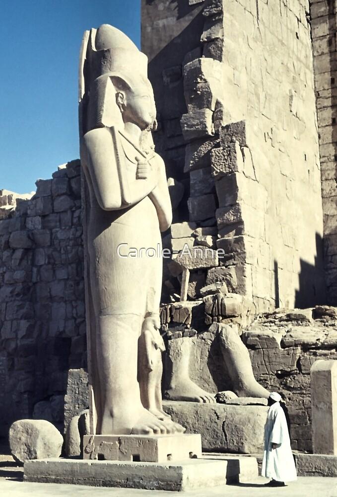 Huge Sculpture of Ramses III, Karnak, Egypt  by Carole-Anne