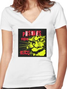 Pussy FIGHTS Back Women's Fitted V-Neck T-Shirt