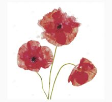 Water Color Poppies One Piece - Short Sleeve