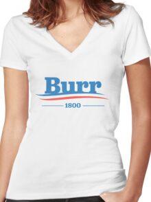 burr for president #2 Women's Fitted V-Neck T-Shirt