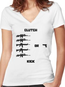 Clutch or Kick Women's Fitted V-Neck T-Shirt