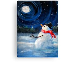 Snowman Gazes at Night Sky & Moon - Folk Painting .  Canvas Print