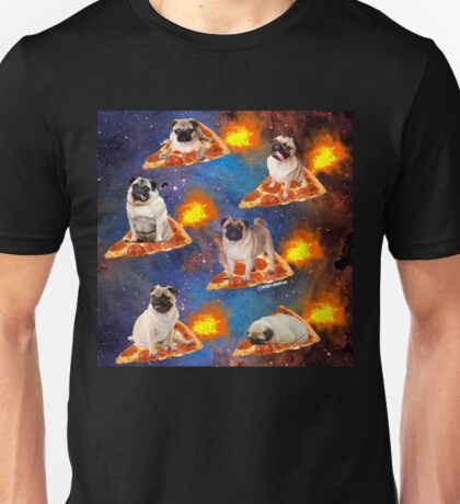 Pugs in Space Riding Pizza Unisex T-Shirt