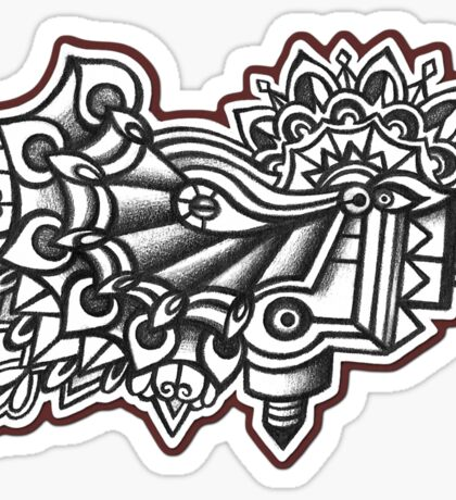 Abstract Dimensions (Black and White) Design 045 Sticker