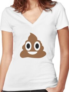 Happy POO! Women's Fitted V-Neck T-Shirt