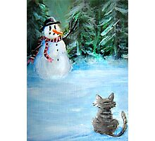 Cute Happy Snowman & Cat in Winter - Folk Painting Photographic Print