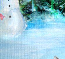 Cute Happy Snowman & Cat in Winter - Folk Painting Sticker