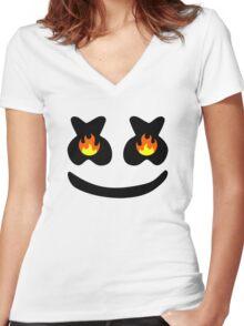 Funny Smile Marshmello Women's Fitted V-Neck T-Shirt