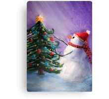 Cute Snowman Decorates Xmas Tree Folk Art Painting . Canvas Print