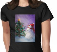 Cute Snowman Decorates Xmas Tree Folk Art Painting . Womens Fitted T-Shirt