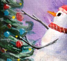 Cute Snowman Decorates Xmas Tree Folk Art Painting . Sticker