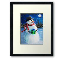 Cute Happy Snowman Holding Gift ACEO Folk Painting Framed Print