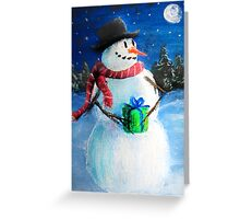Cute Happy Snowman Holding Gift ACEO Folk Painting Greeting Card