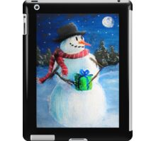 Cute Happy Snowman Holding Gift ACEO Folk Painting iPad Case/Skin