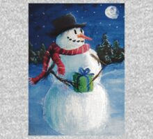 Cute Happy Snowman Holding Gift ACEO Folk Painting Kids Clothes