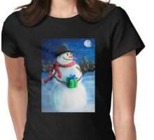 Cute Happy Snowman Holding Gift ACEO Folk Painting Womens Fitted T-Shirt