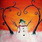 Cute Happy Snowman at Sunset - ACEO Folk Painting by Leah McNeir