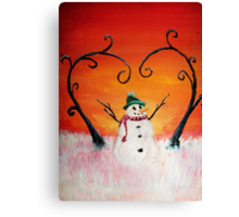 Cute Happy Snowman at Sunset - ACEO Folk Painting Canvas Print