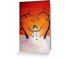 Cute Happy Snowman at Sunset - ACEO Folk Painting Greeting Card