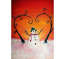 Cute Happy Snowman at Sunset - ACEO Folk Painting Photographic Print