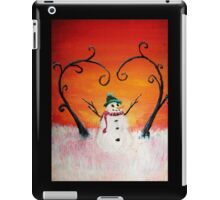 Cute Happy Snowman at Sunset - ACEO Folk Painting iPad Case/Skin