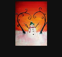 Cute Happy Snowman at Sunset - ACEO Folk Painting Womens Fitted T-Shirt
