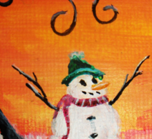 Cute Happy Snowman at Sunset - ACEO Folk Painting Sticker