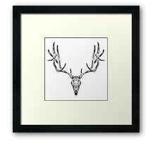 Deer Skull Animal Line Art Framed Print