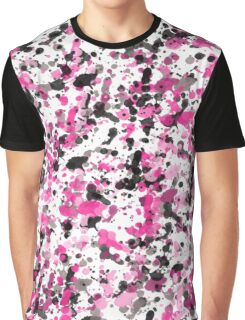 Pink Black Splatter Graphic T-Shirt