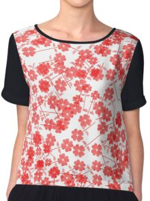 Red Floral Drop Chiffon Top
