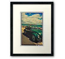 VW Beetle Rusty Beach Framed Filter Framed Print