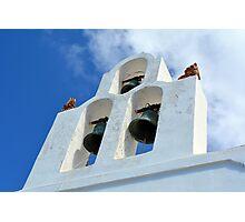 Three church bells from Santorini, Greece Photographic Print