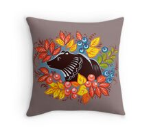 The Bear in autumn forest Throw Pillow